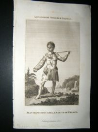 Polynesia 1818 Print. Jean Baptiste Cabri, 1st European Tattoo Man to Exhibit